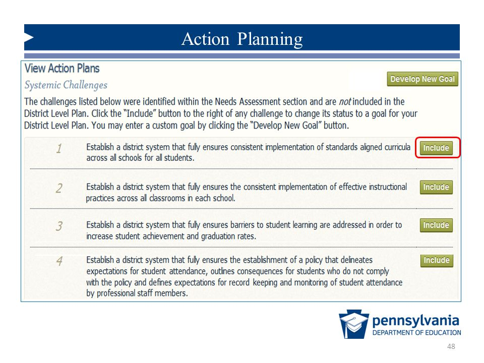 Action Planning To build an Action Plan that addresses a Systemic Challenge. [i.e. to select an Action Plan Goal]